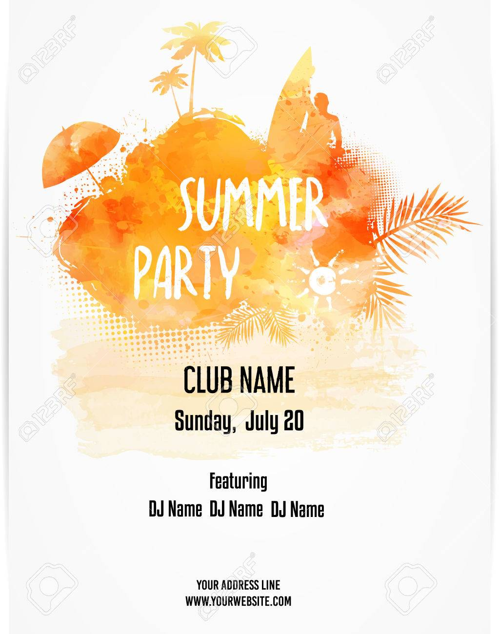 Party Poster Template For Summer Orange Colored With Watercolor Imitation Design Vector Illustration