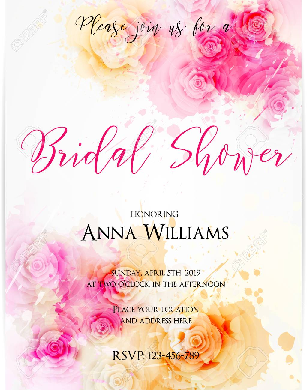 bridal shower invitation template with abstract roses on watercolor