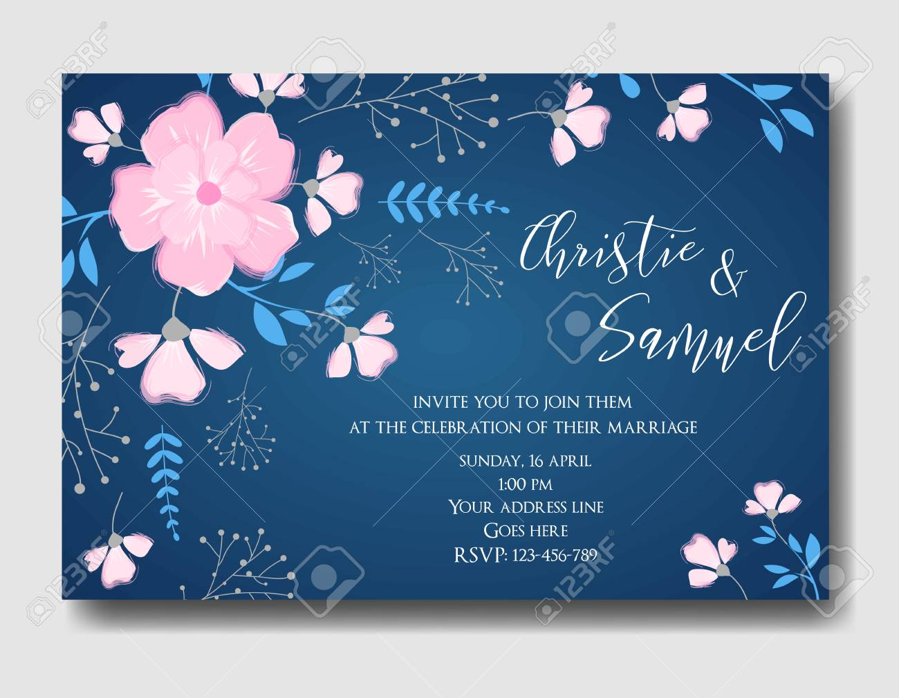 Wedding Invitation Card Template With Abstract Bouquet Flowers