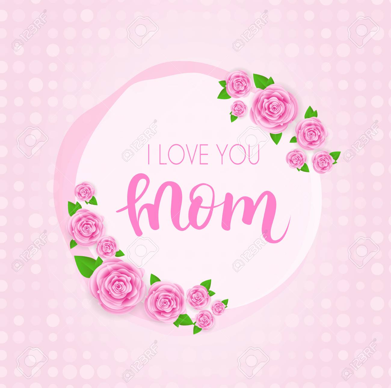 Mothers day greeting card with abstract pink roses lettering mothers day greeting card with abstract pink roses lettering on dotted background vector illustration m4hsunfo