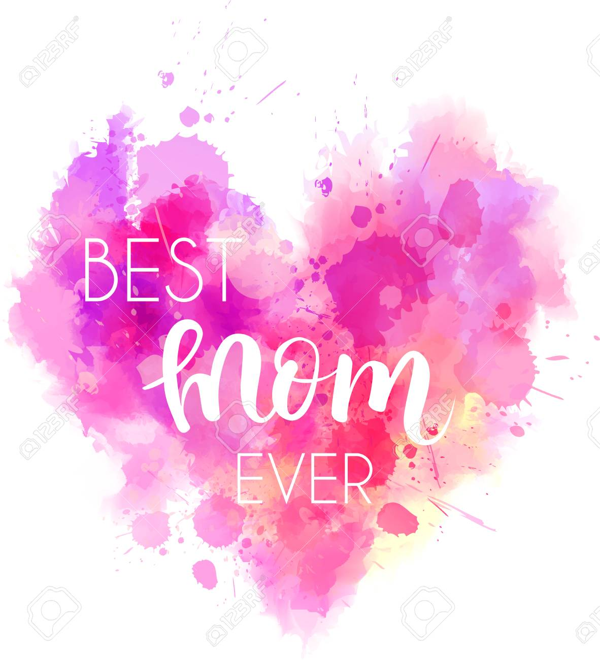 2b708d2529 Vector - Watercolor imitation pink heart with Best mom ever text. Design  element for greeting card, holiday banners, etc.
