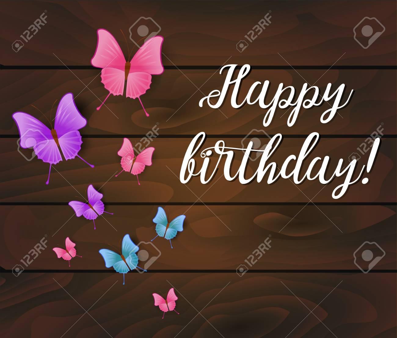 Fondo De Feliz Cumpleaños Tablones De Madera Con Hermosas Mariposas