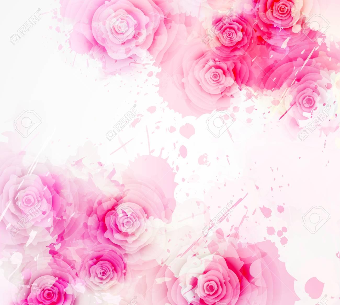 Fondo De Plantilla De Invitacion Con Flores Abstractas Watercolored