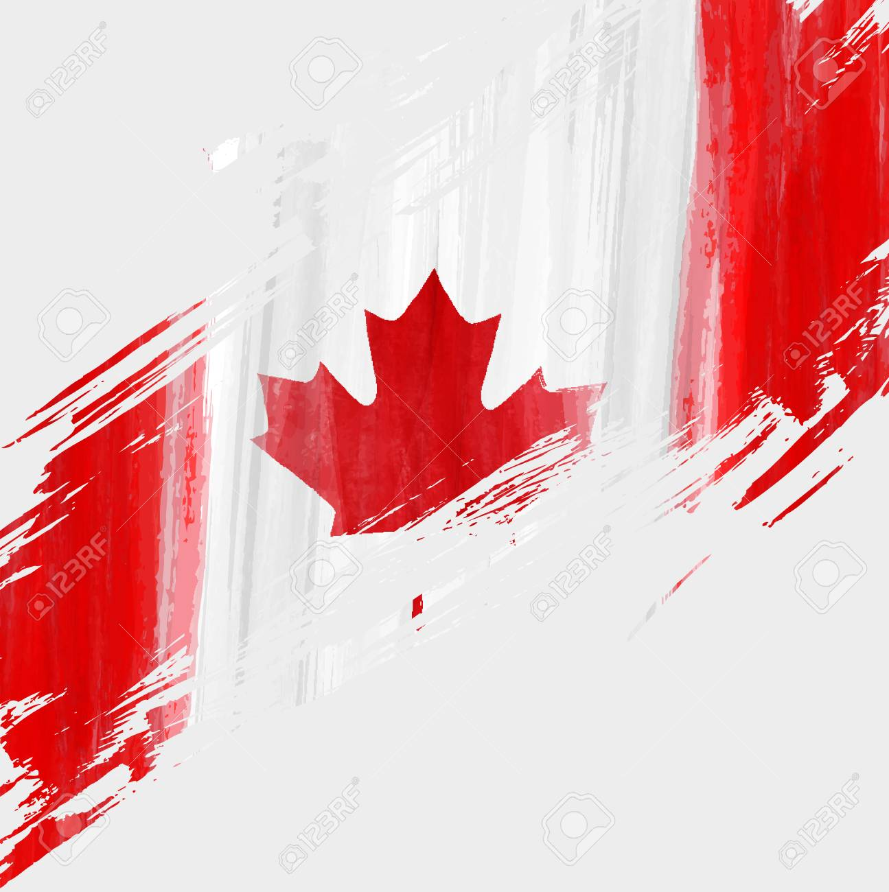Grunge Canadian Flag Background With Watercolor Brushed Lines Template For Holidays Canada Day