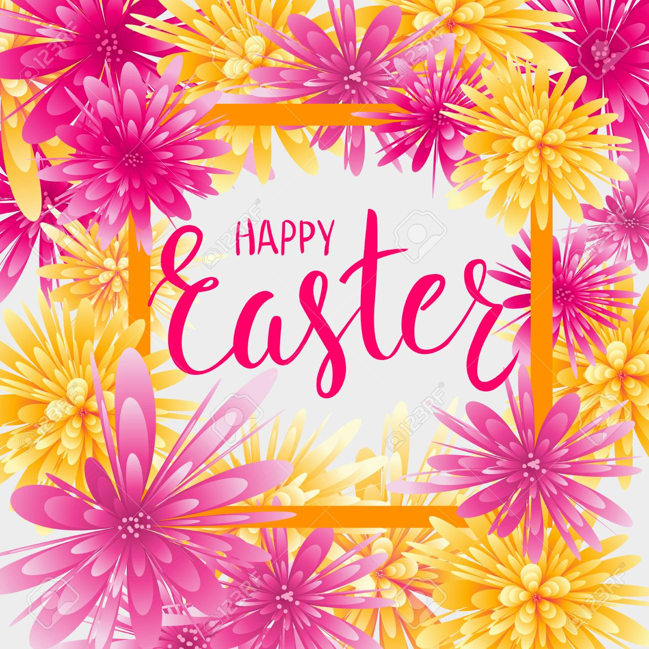 Happy Easter Greeting Card With Abstract Flowers And Watercolor