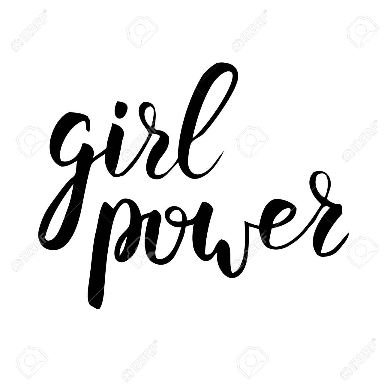 Girl power handwritten phrase Modern calligraphy lettering - 97225030