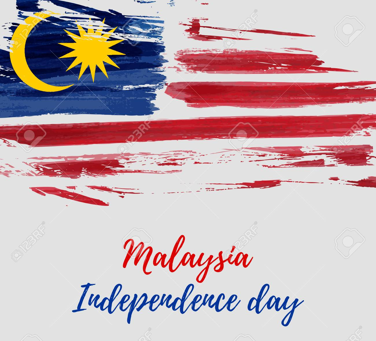 Malaysia Independence day background. With grunge painted flag of Malaysia. Hari Merdeka holiday. Template for poster, banner, flyer, invitation, etc. - 101608354