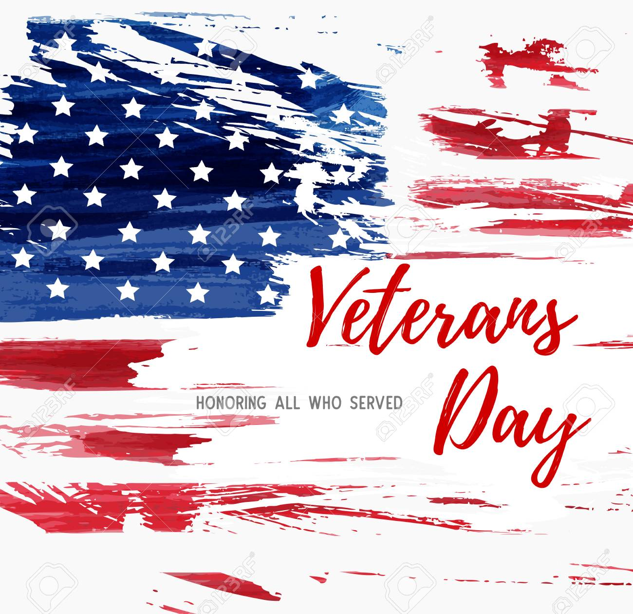 usa veterans day background abstract grunge brushed flag with