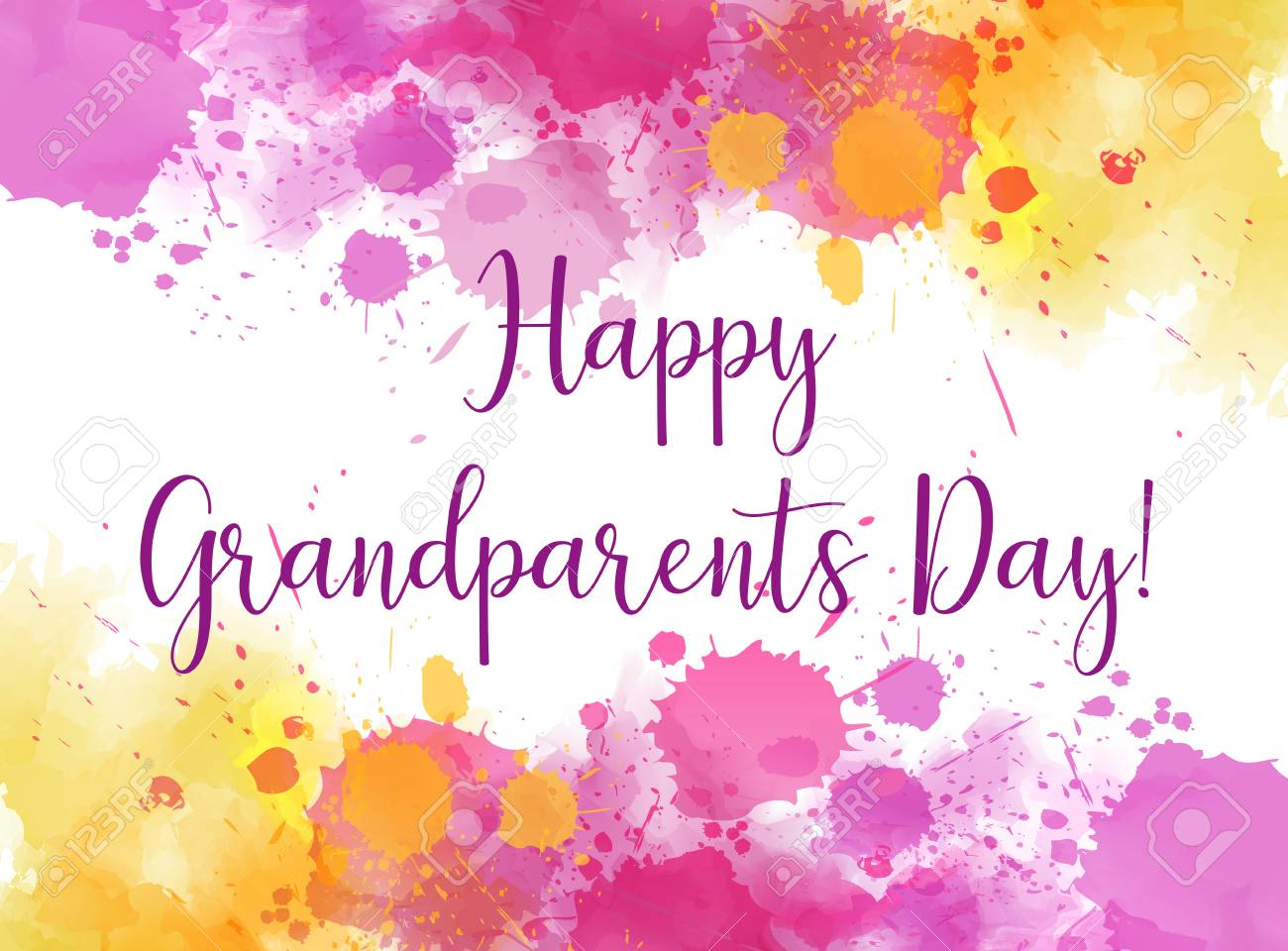 Happy grandparents day abstract greeting card background with happy grandparents day abstract greeting card background with watercolor splashes frame stock vector m4hsunfo