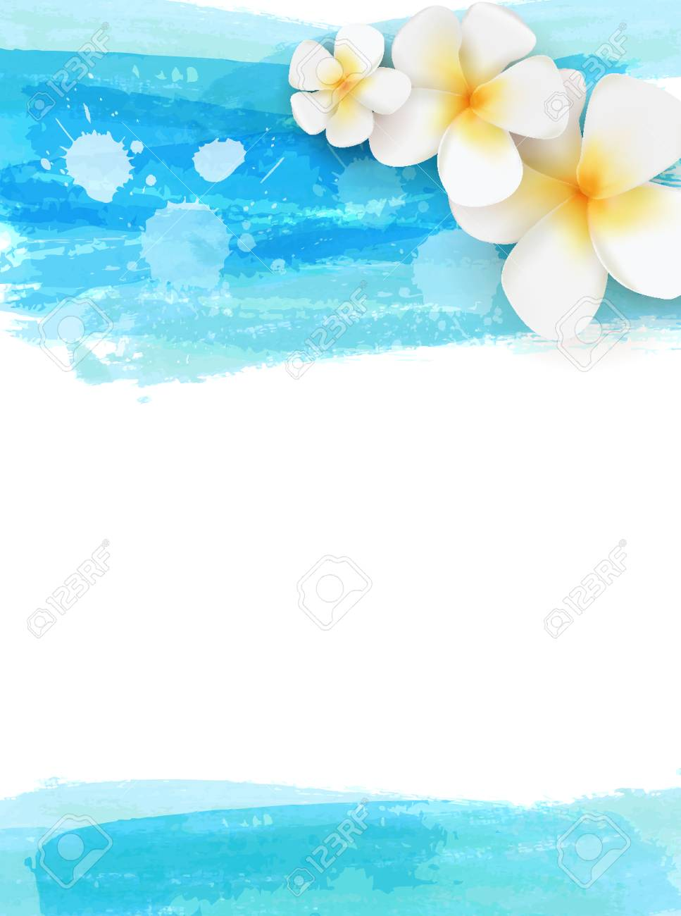 Invitation Template With Plumeria Tropical Flowers On Watercolor