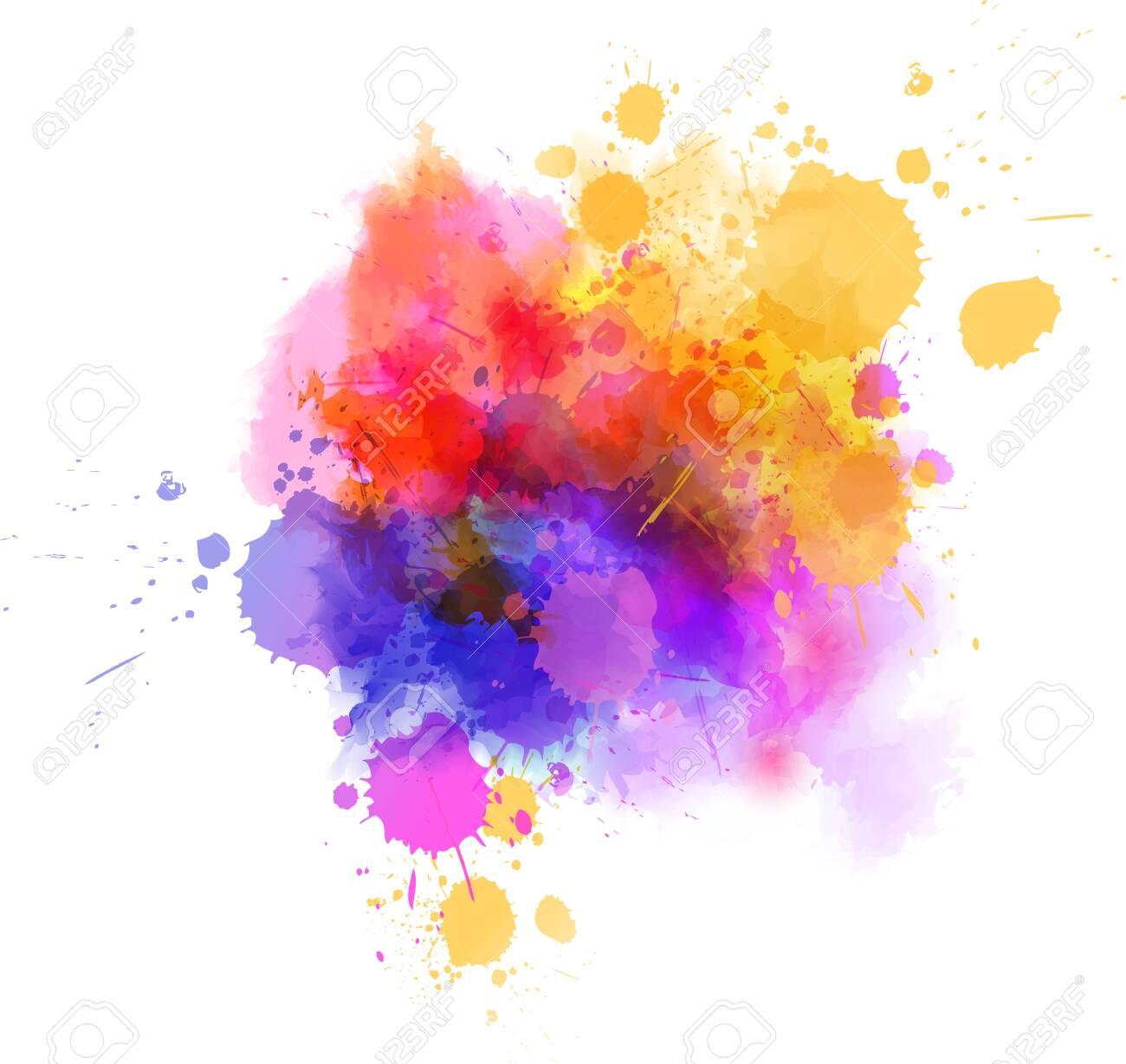 Multicolored splash watercolor paint blot - template for your designs. - 124462374
