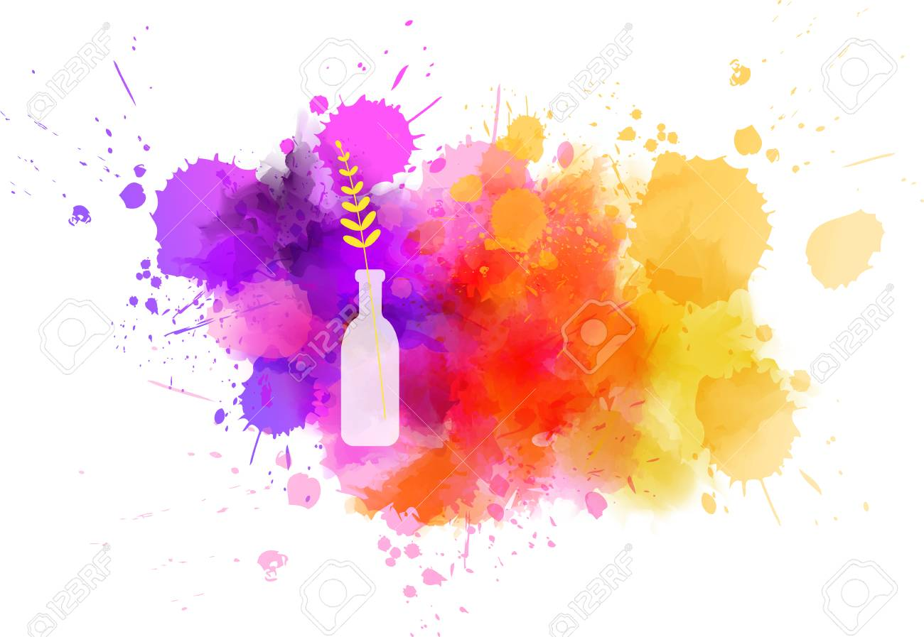 Bottle vase with abstract flower on watercolor paint splash. Spring concept. - 122692239