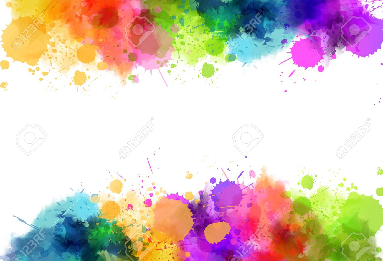 Banner background with colorful watercolor imitation splash blots frame. Template for your designs. - 140041281