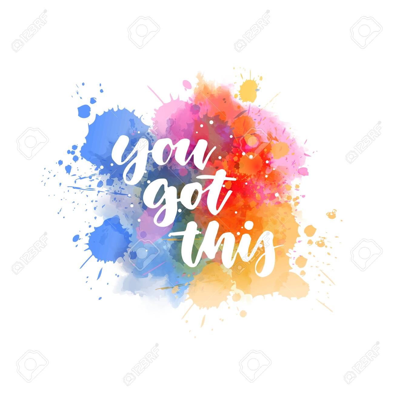 You got this - handwritten lettering on abstract painted watercolor splash. Blue and pink colored. - 145982606