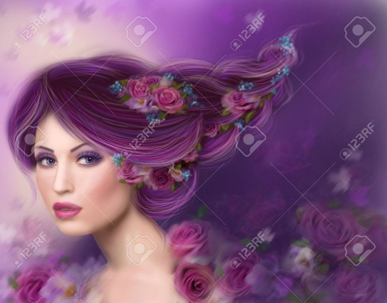 fantasy woman with beautiful purple hair and flowers roses stock