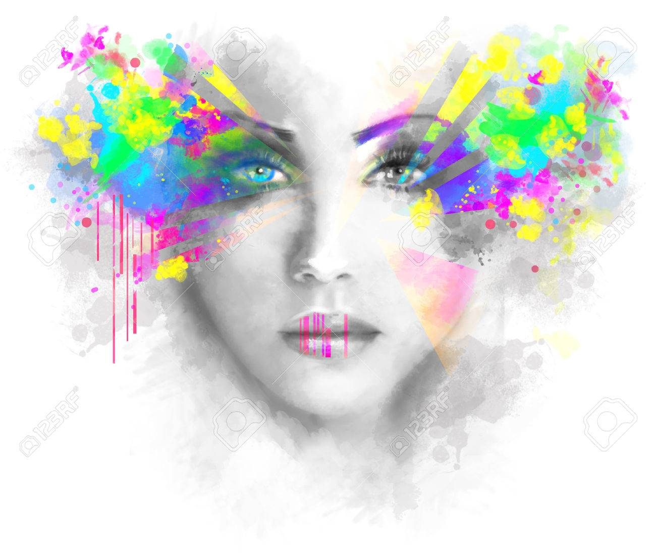 Multicolored abstractn Woman Beautiful portrait illustration Stock Photo - 46114846