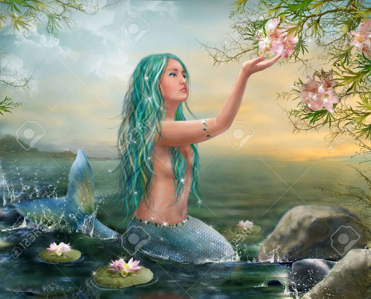 Mermaid In The Sunset With Green Hair Lilies Stock Photo Picture