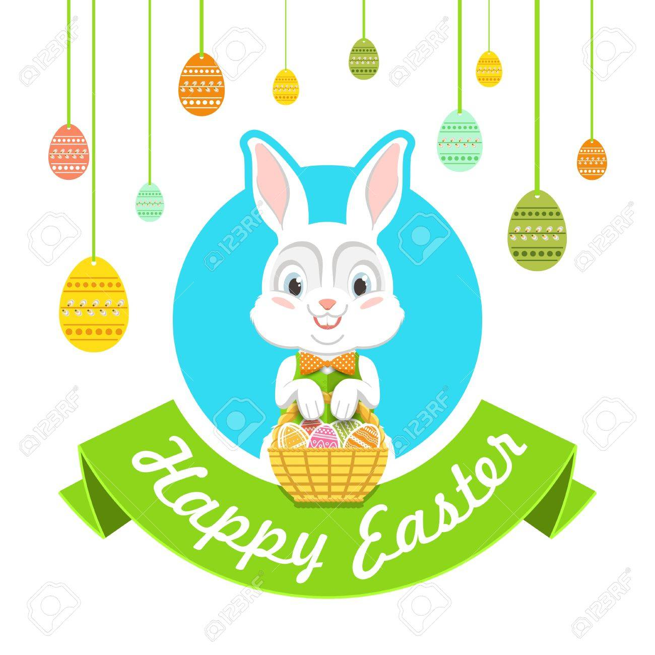 happy easter vector illustration with easter bunny royalty free rh 123rf com easter vector elements easter vector images