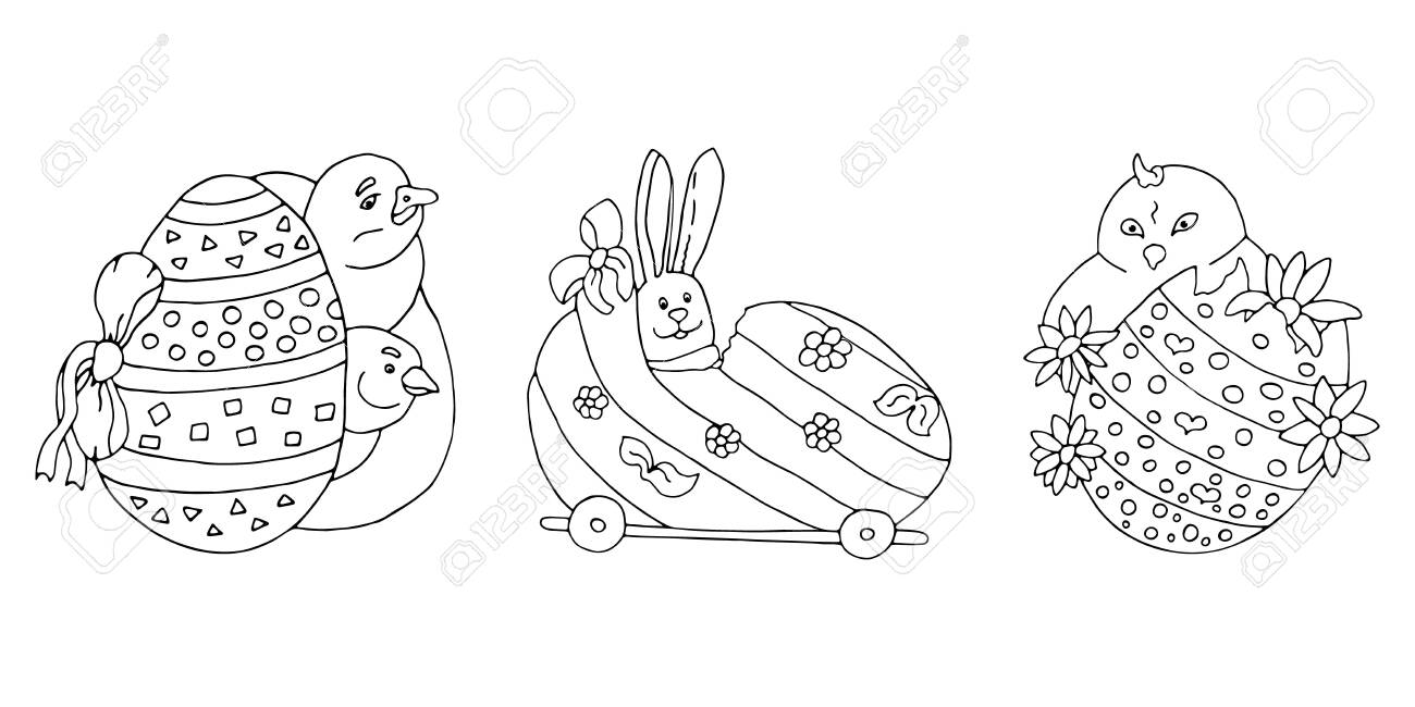Happy Easter chick. Coloring page Clip Art | k5912747 | Fotosearch | 650x1300