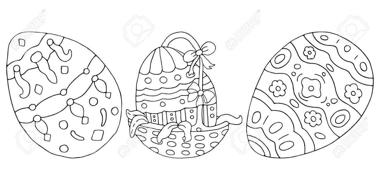 Set of painted easter eggs. Beautiful Russian patterns. Wicker..