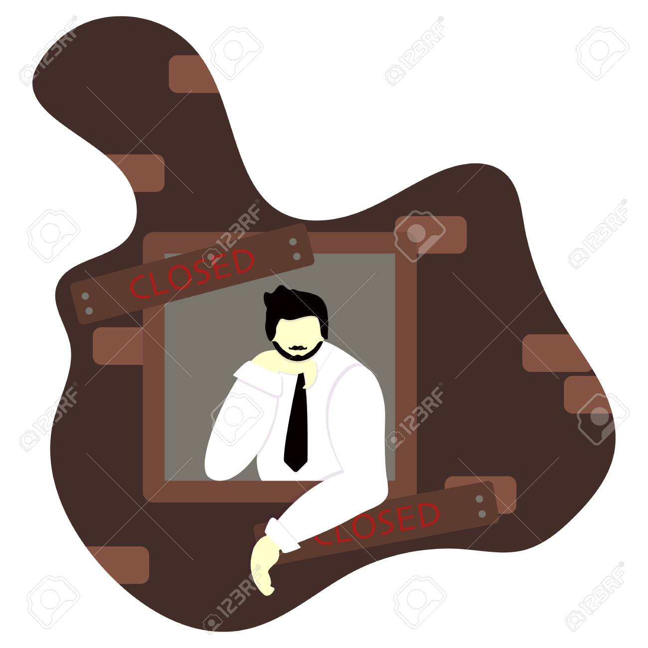 Bankrupt in window. Boarded up window with tablet closed. Bankruptcy and ruin business concept vector illustration. Sad businessman in tie went broke. Effect of coronavirus or COVID-19 outbreak 2020. - 146261918