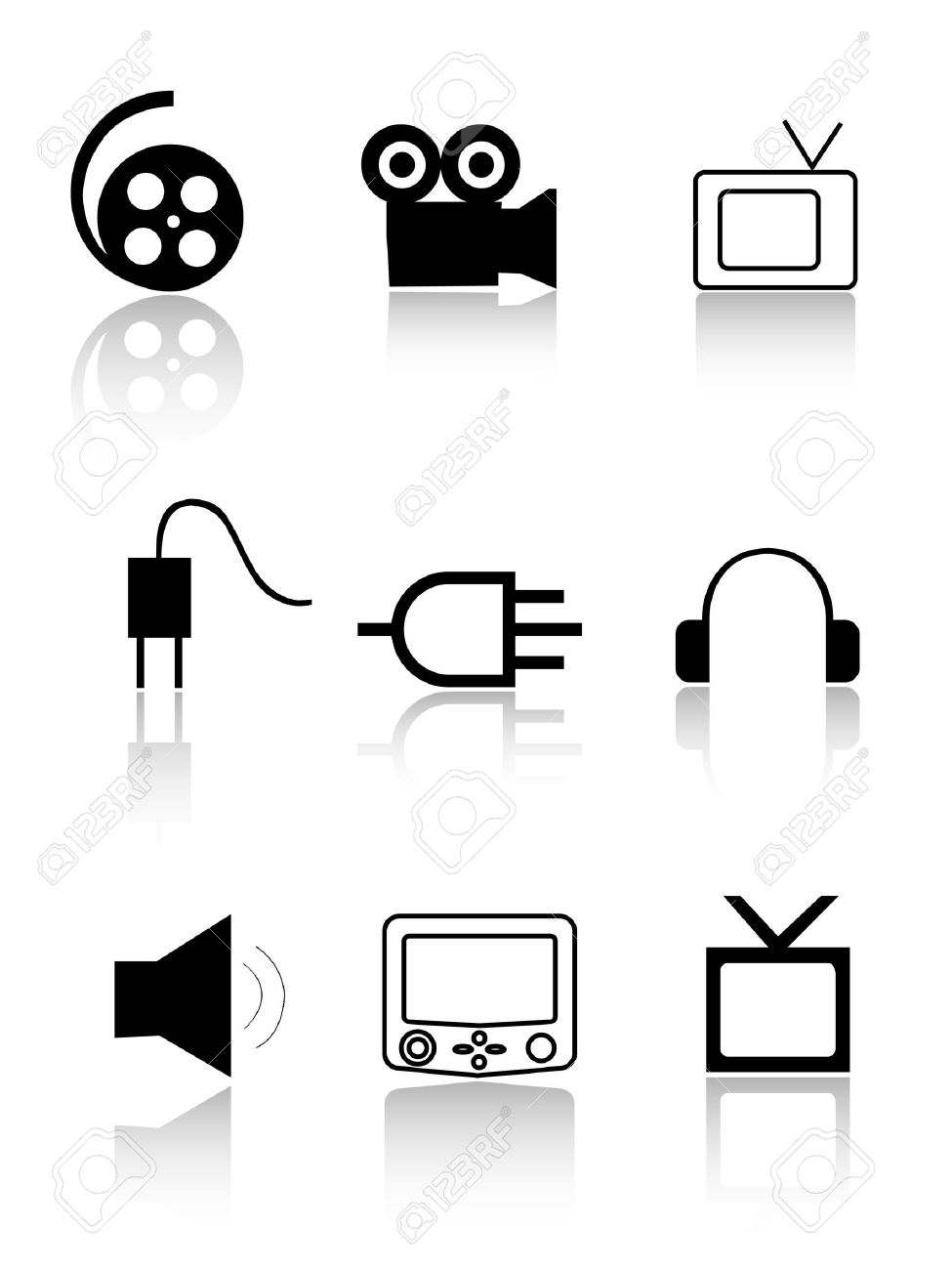 Cinema and TV icons. Cinema and TV signs Stock Vector - 8384670