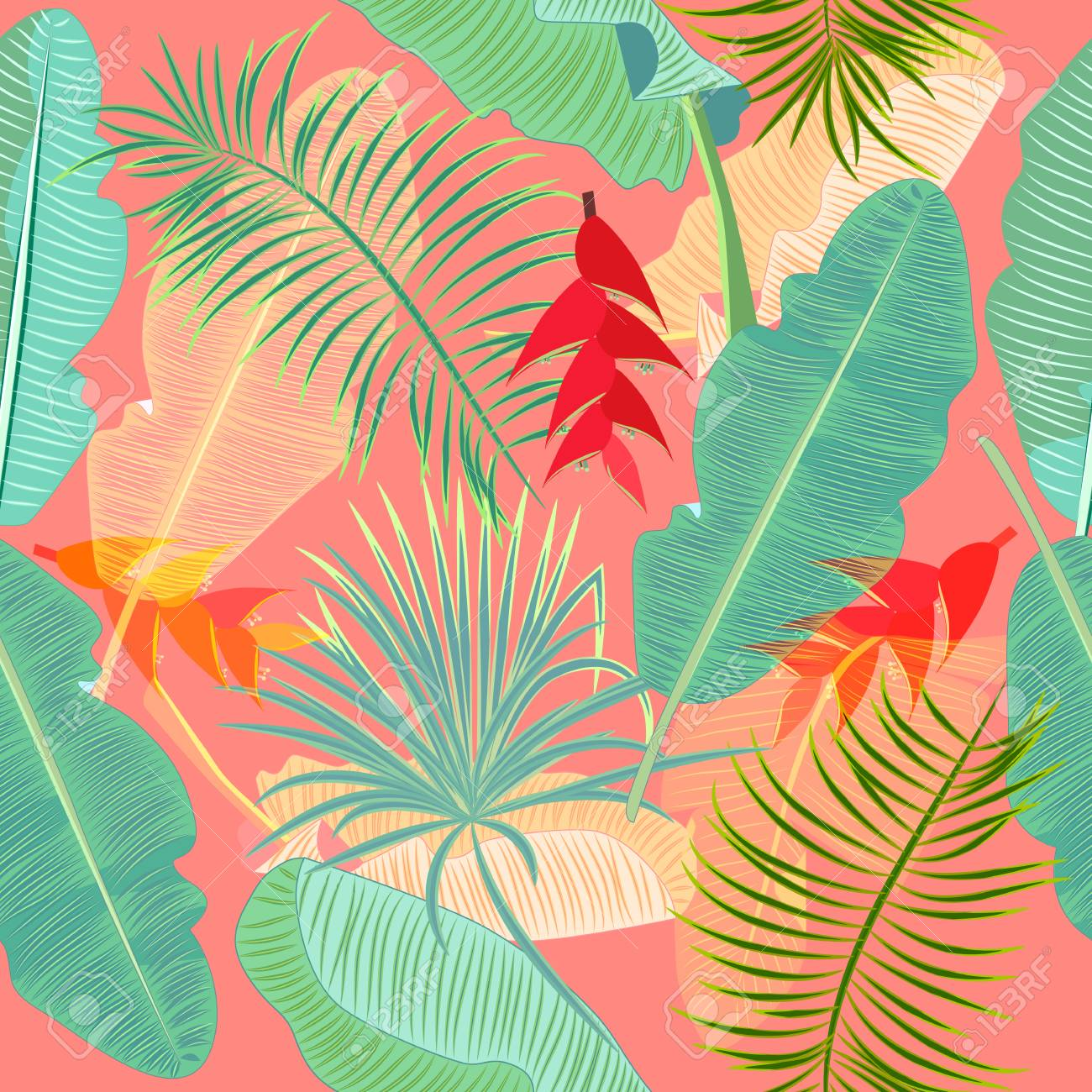 Seamless Pattern Of Exotic Jungle Plant Tropical Palm Leaves Royalty Free Cliparts Vectors And Stock Illustration Image 110001862 Jungle plant, wild flowers, forest trees, jungle leaves vector license: seamless pattern of exotic jungle plant tropical palm leaves
