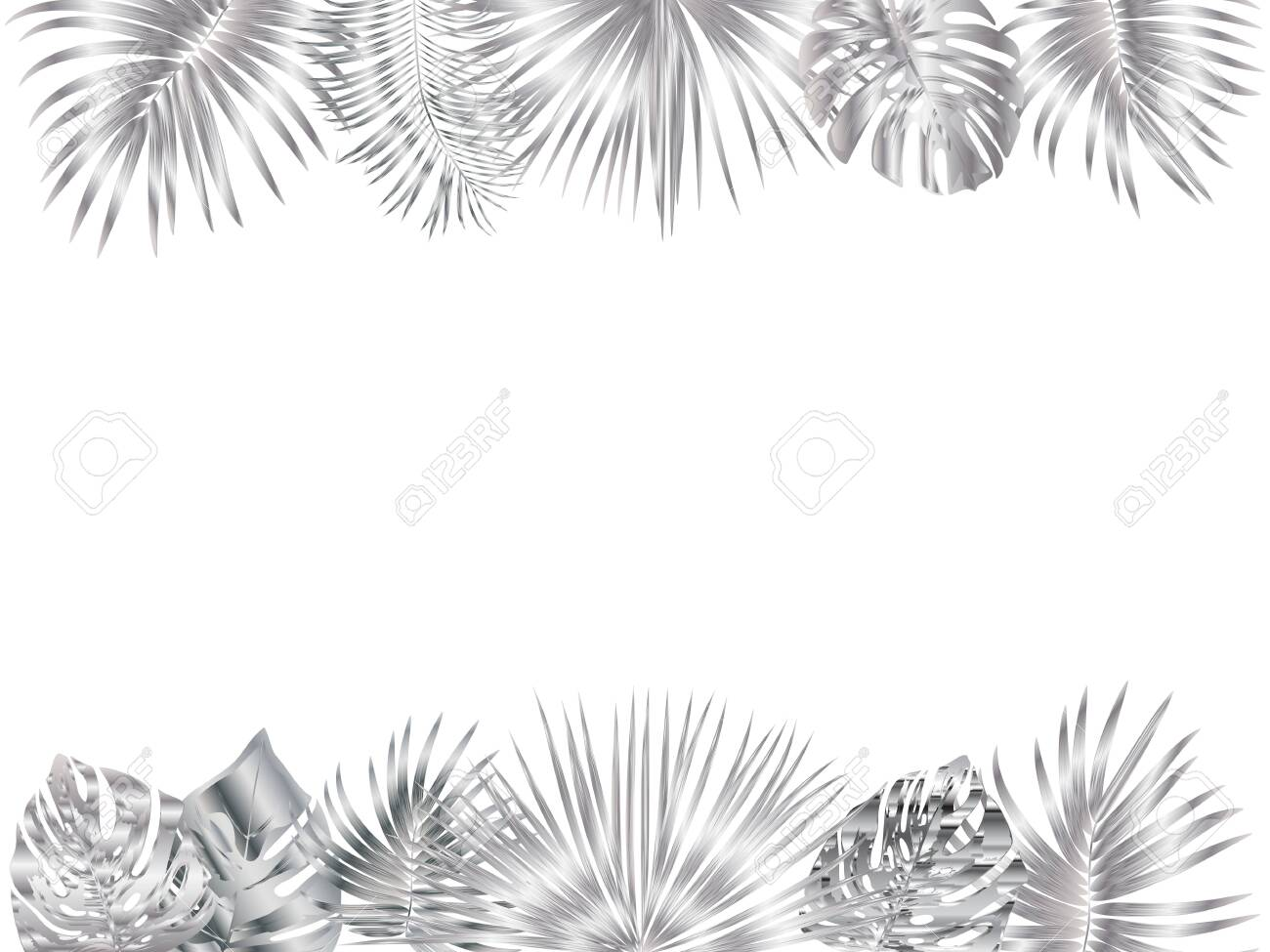 Vector tropical jungle frame with silver palm trees and leaves..