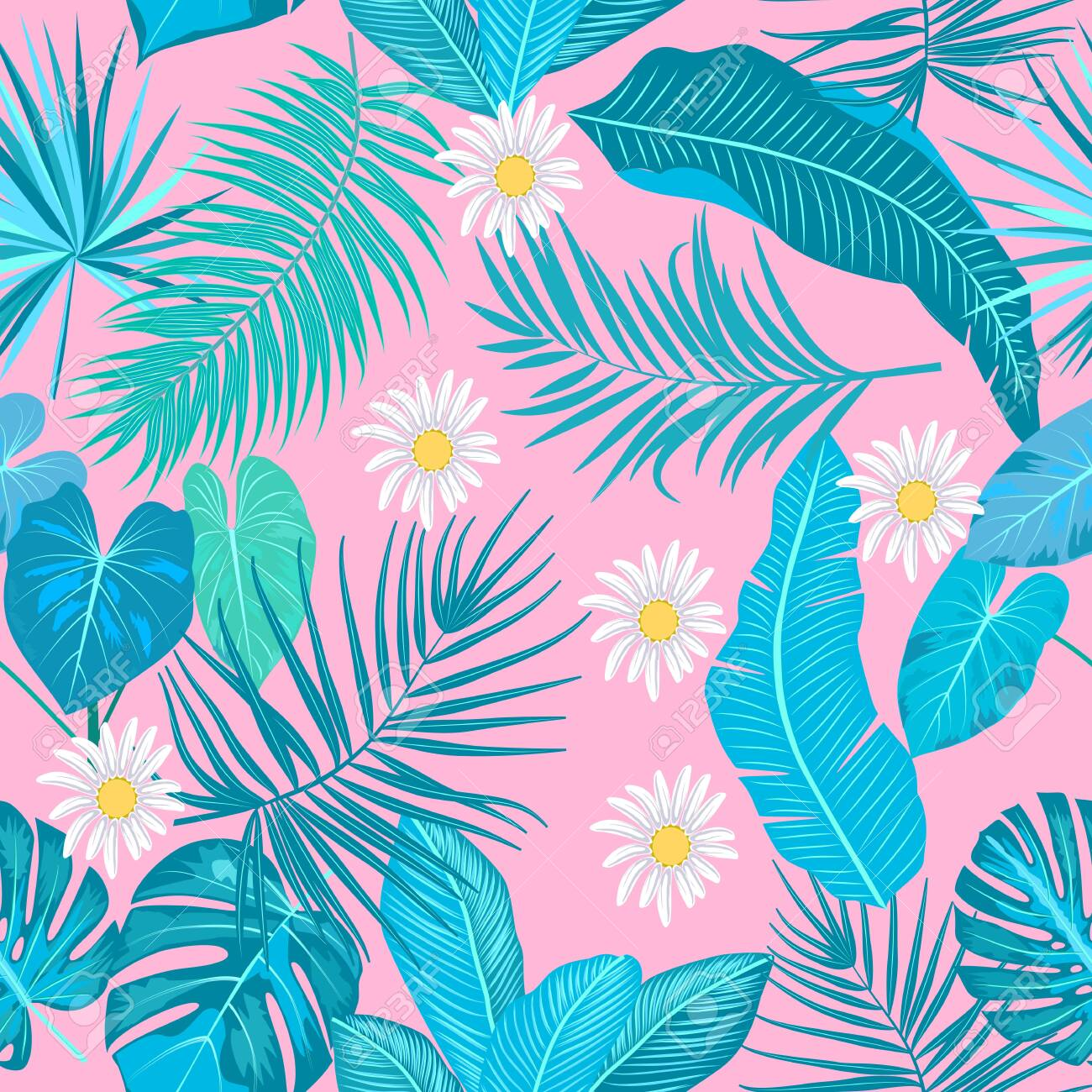 Tropical jungle palm leaves seamless pattern, monstera and flowers, vector background - 134926232