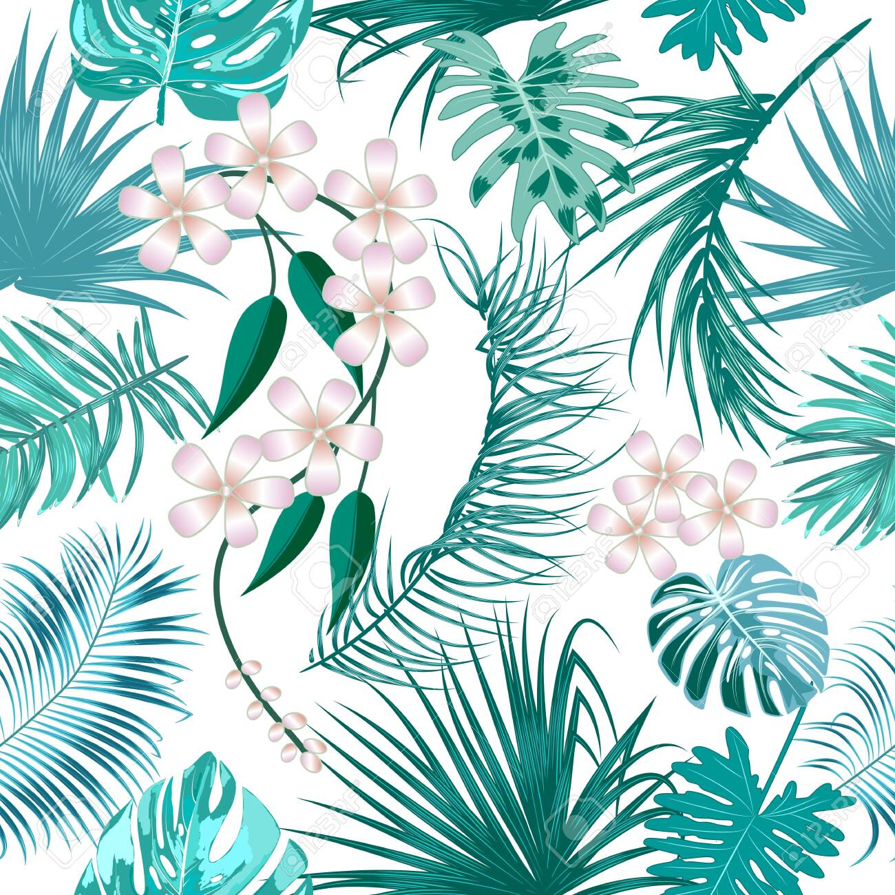 Vector tropical jungle seamless pattern with palm trees leaves and flowers, background for wedding, Birthday and invitation cards - 147961872