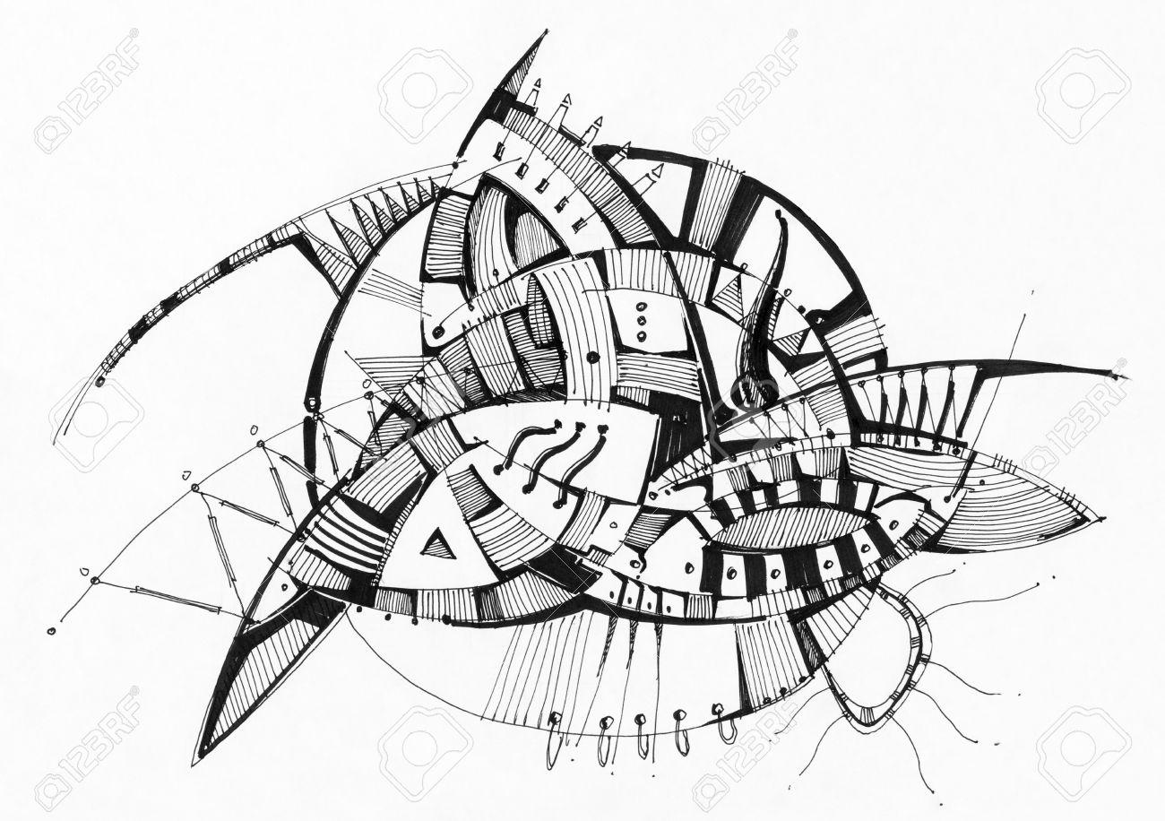 Resume Stylo Dessin Geometrique Sur Papier Blanc Banque D Images Et