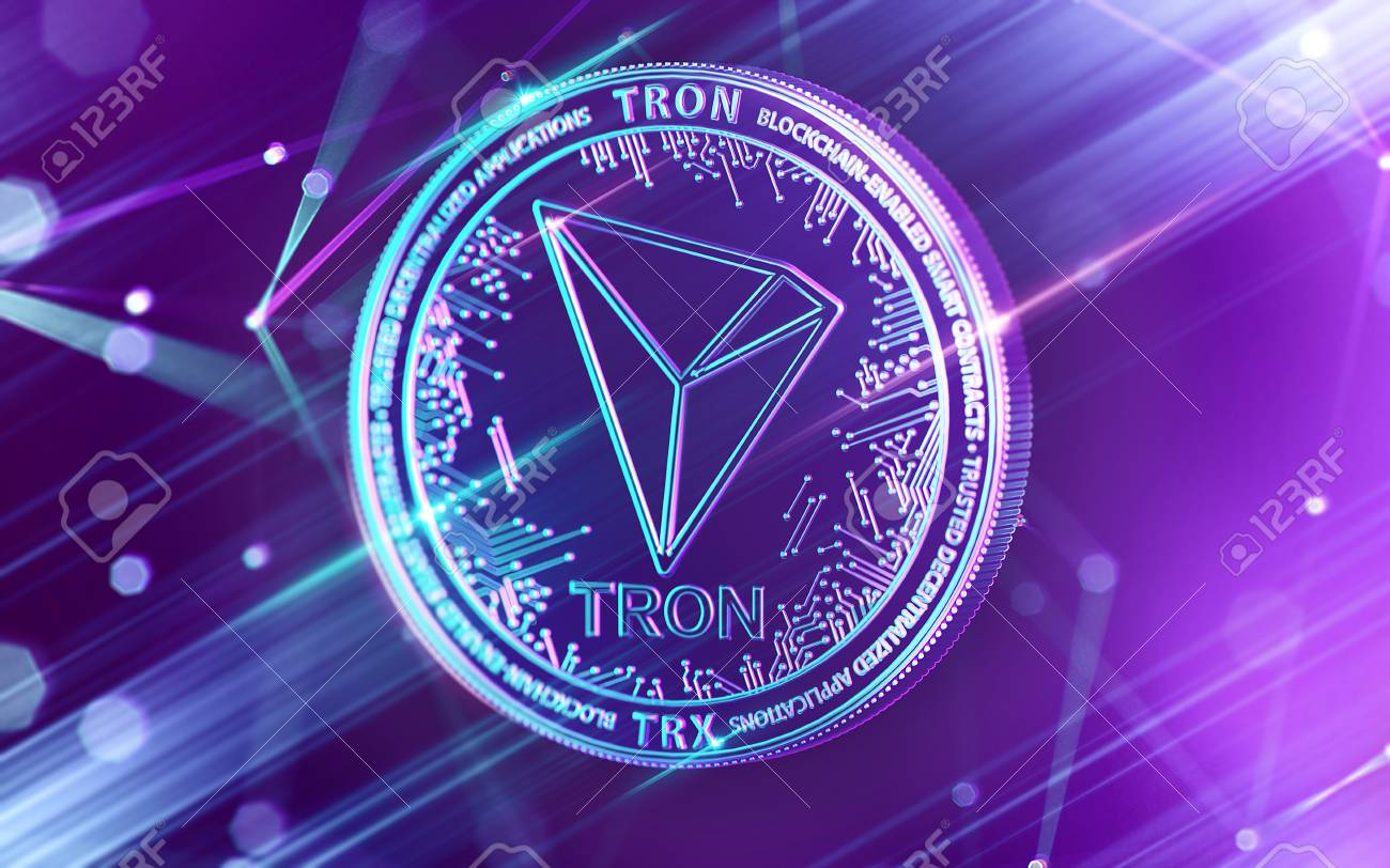 Neon glowing TRON (TRX) coin in Ultra Violet colors with cryptocurrency