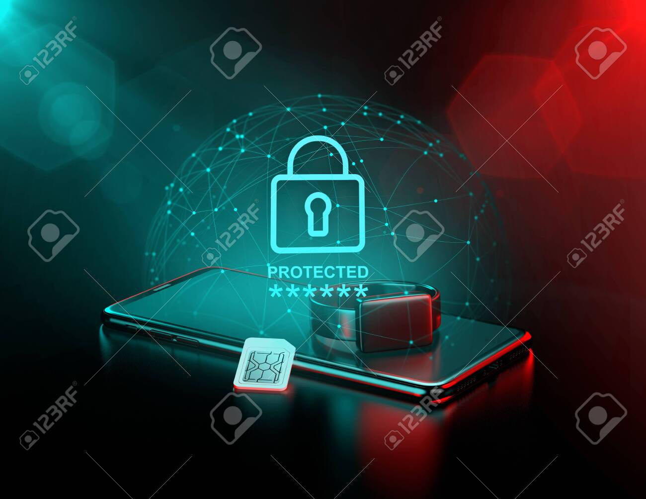 Smartphone and a smart watch surrounded by force field as a metaphor of data surveillance and it's protection. 3D rendering - 132282605