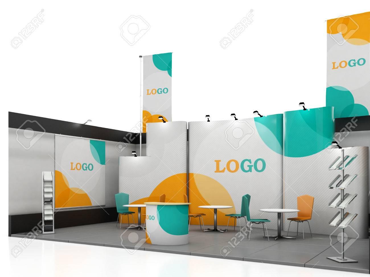 Exhibition Stand Design Graphic : Blank creative exhibition stand design with color shapes booth