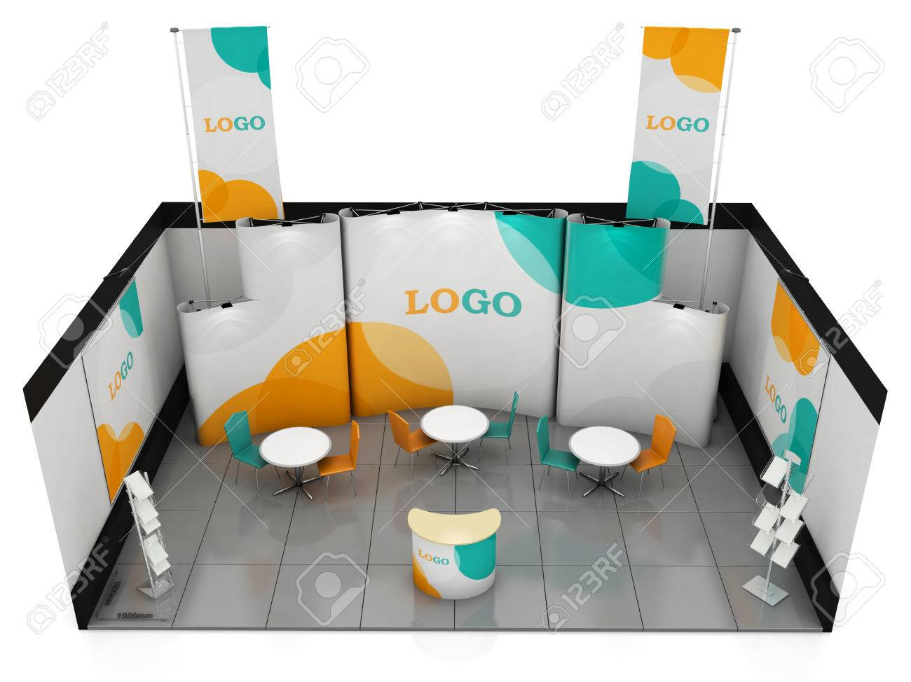 Exhibition Stand Or Booth : Blank creative exhibition stand design with color shapes booth