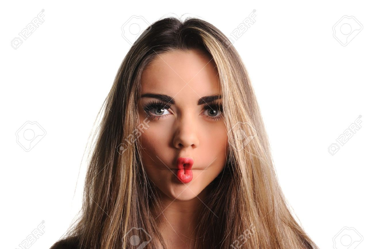 Grimace face clip art stock photo woman pulls a face in upset - Making Funny Grimace Woman Making A Funny Face Known As Afish Face Stock Photo