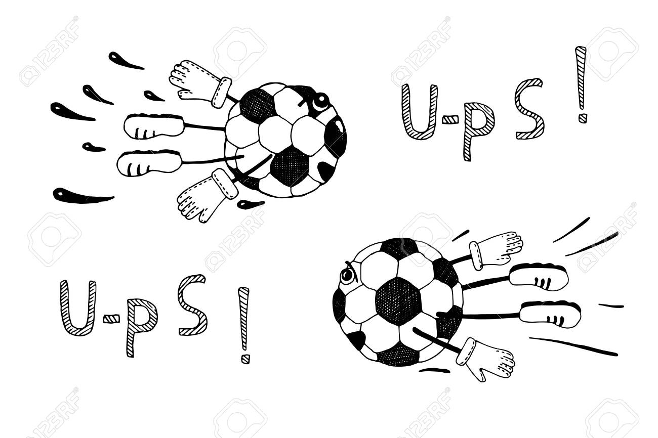 Soccer ball Isolated on a white background. Hand drawn wector illustration for the design of a sports banner, background, printed matter for championships, olympiads, competitions. - 134019391