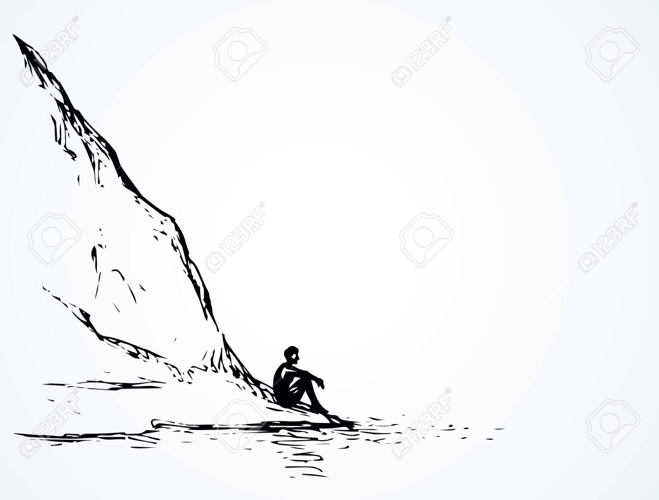 Cliff calm remote scene on high riverbank. Line black ink hand drawn sad lone young girl on space for text on white sky. Wild spring Alpine waterfront pond peace view picture in art vintage doodle style - 155205444