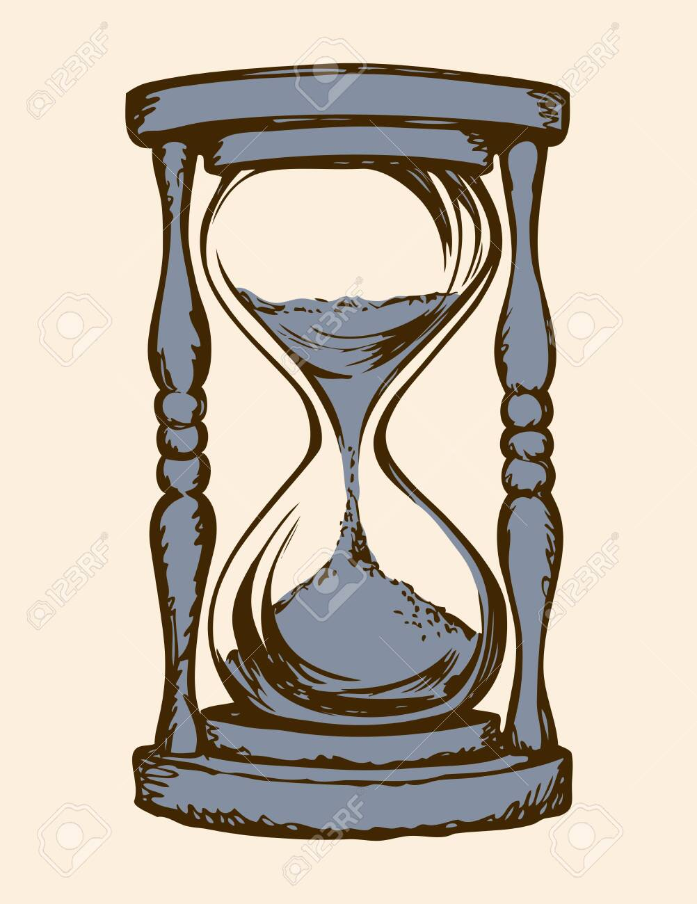 Aged flowing grain timekeeper isolated on white backdrop. Freehand outline ink hand drawn icon sketchy in art scribble style pen on paper. View closeup with space for text - 156545138