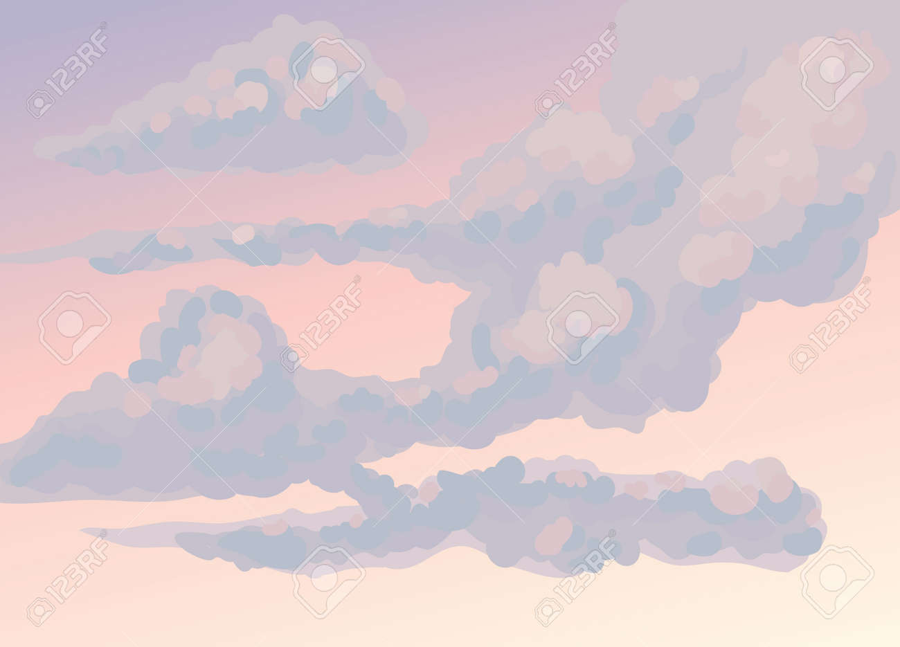 Autumn violet frown nebulous scenery isolated on red twilight heaven backdrop. Bright gloomy purple color hand drawn somber gale skyscape sketch. - 156597148