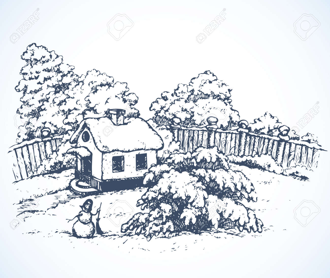 Cute cozy wooden chalet edifice isolated on light backdrop. Freehand outline black ink hand drawn picture sketchy in art retro doodle graphic style pen on paper. Scenic view with space for text on sky - 159758677