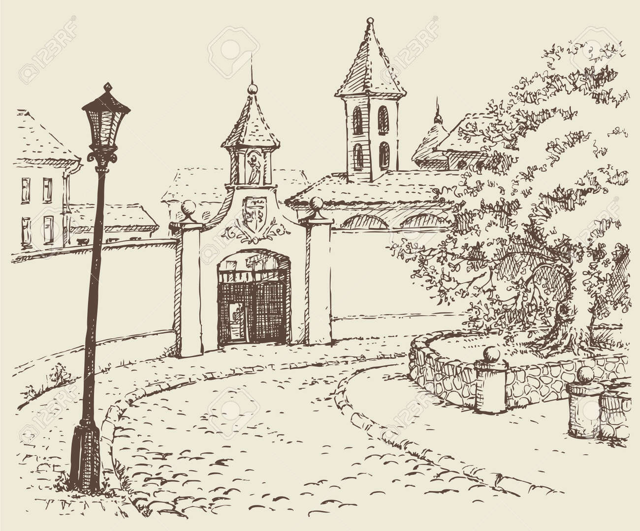 Vector landscape sketches. The winding streets of old town - 159758867