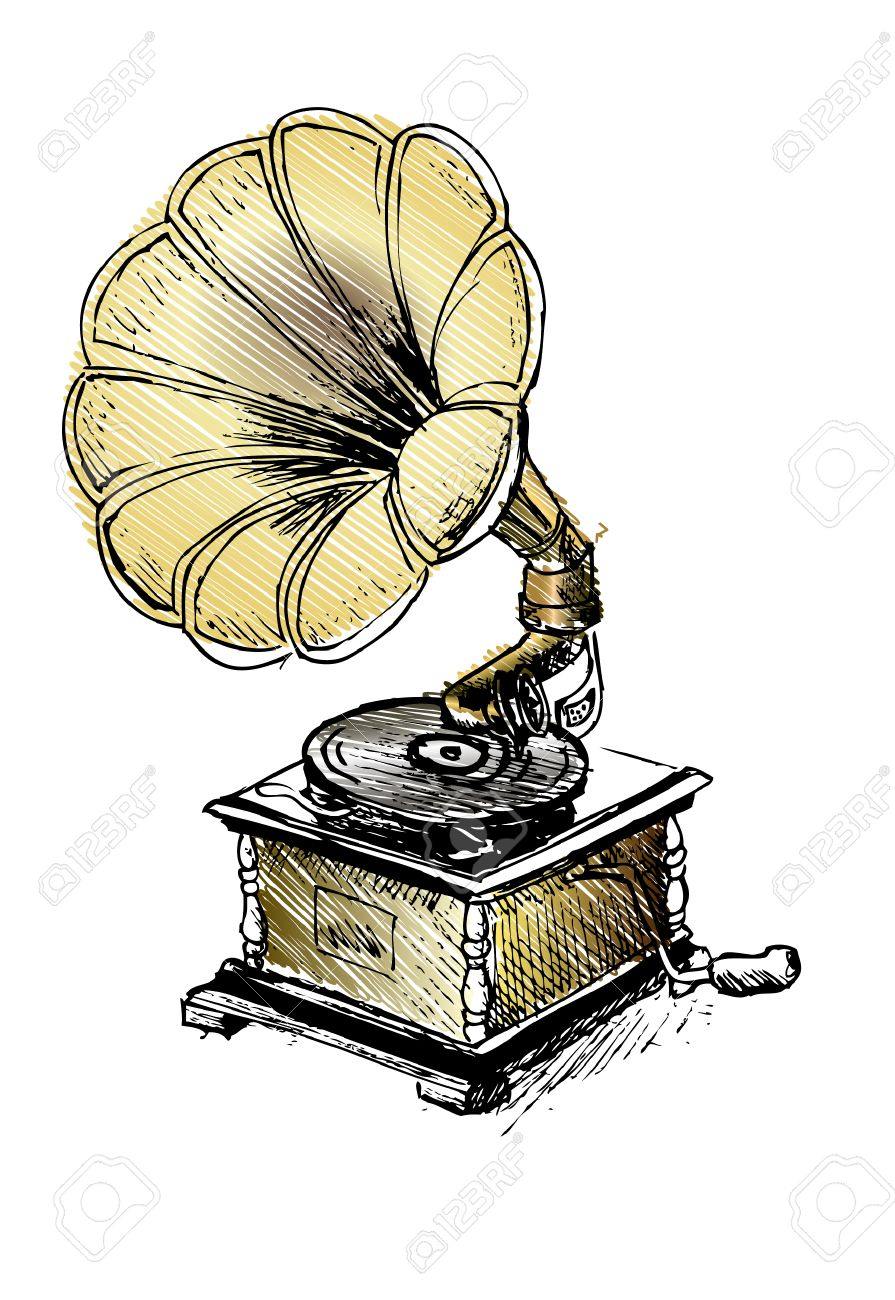 vintage gramophone record player royalty free cliparts vectors and stock illustration image 34013648 vintage gramophone record player