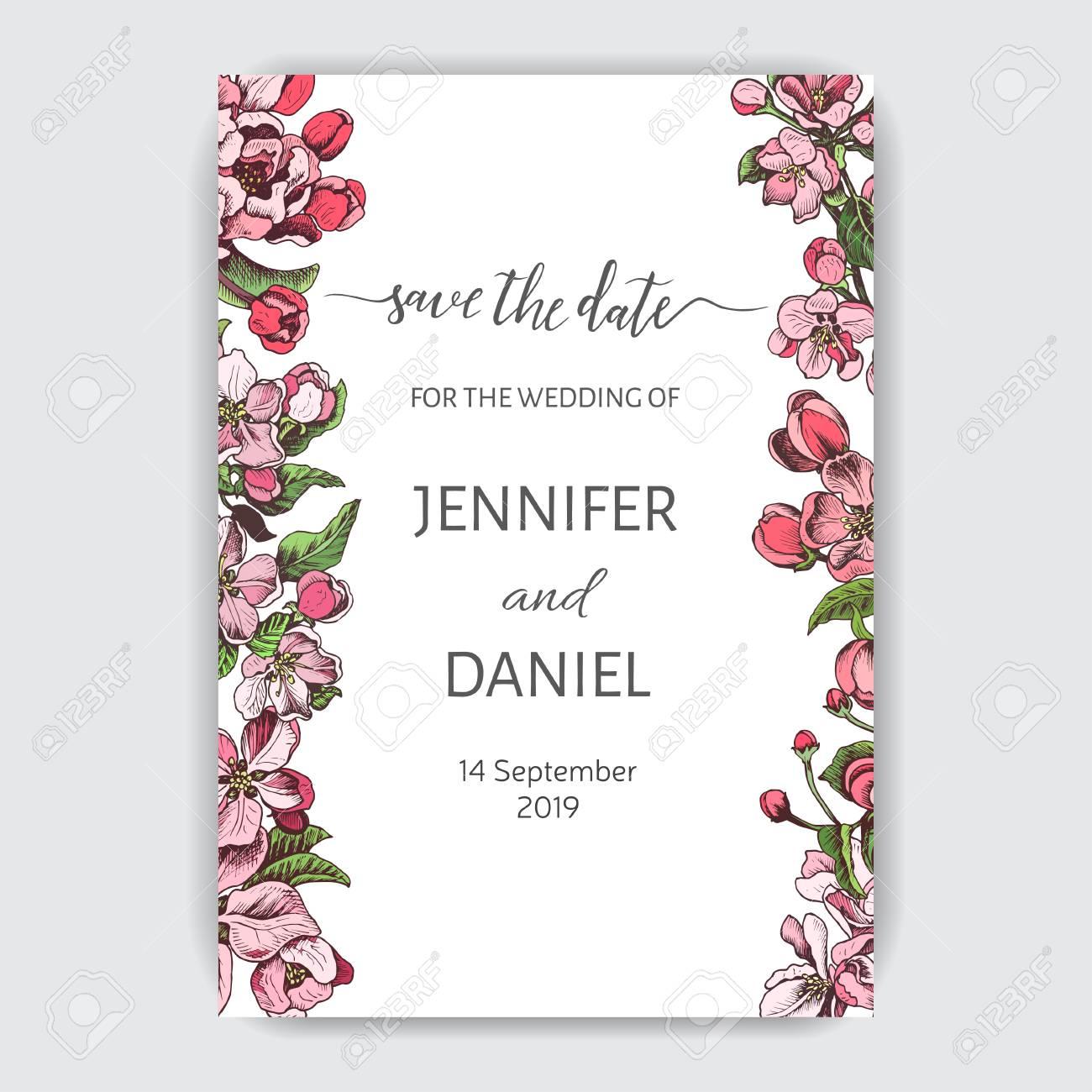 Template For Wedding Invitation Card Vector Illustration Apple