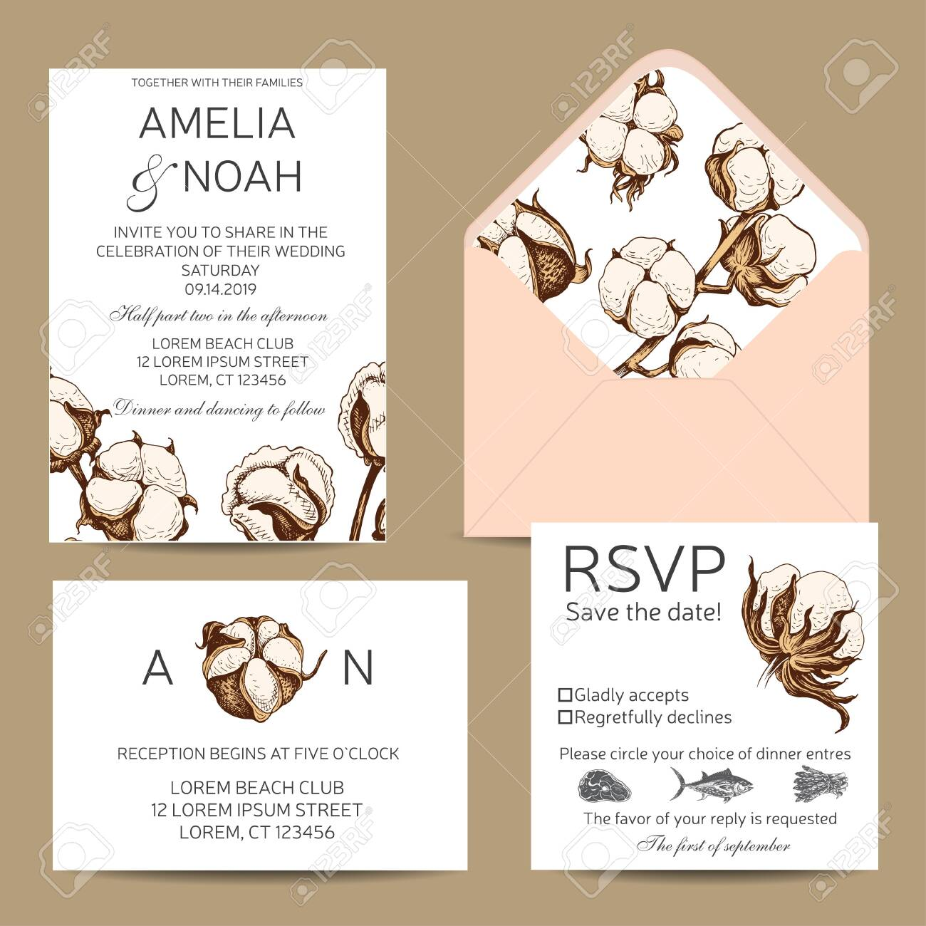 Template For Wedding Invitation Card Vector Illustration Cotton