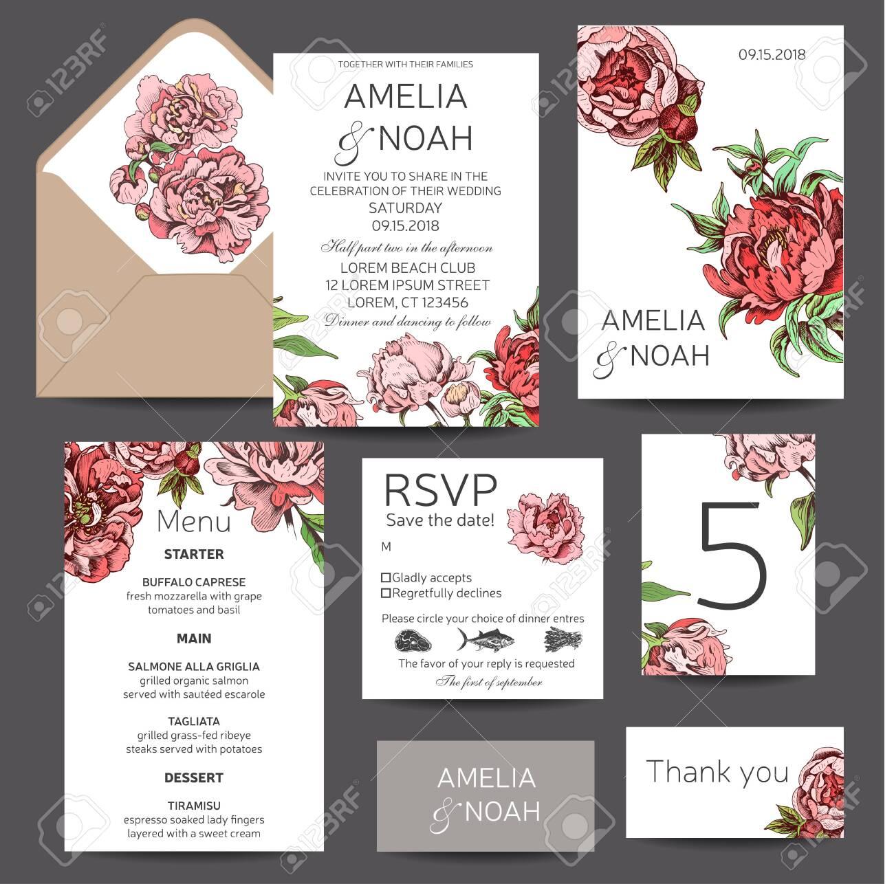 Vector illustration sketch - card with flowers chrysanthemum, peony. Wedding invitation with flower. Dahlias, Ruscus, Viburnum. - 123613884