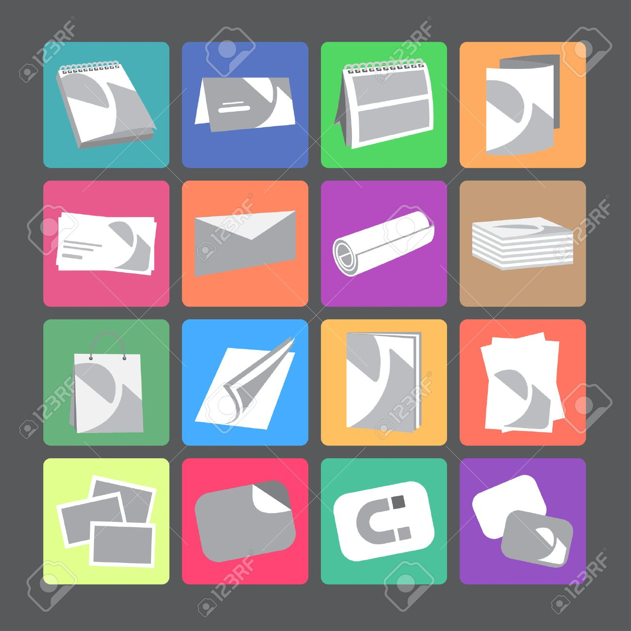 Printing House Web Flat Icons With Products Include Business ...