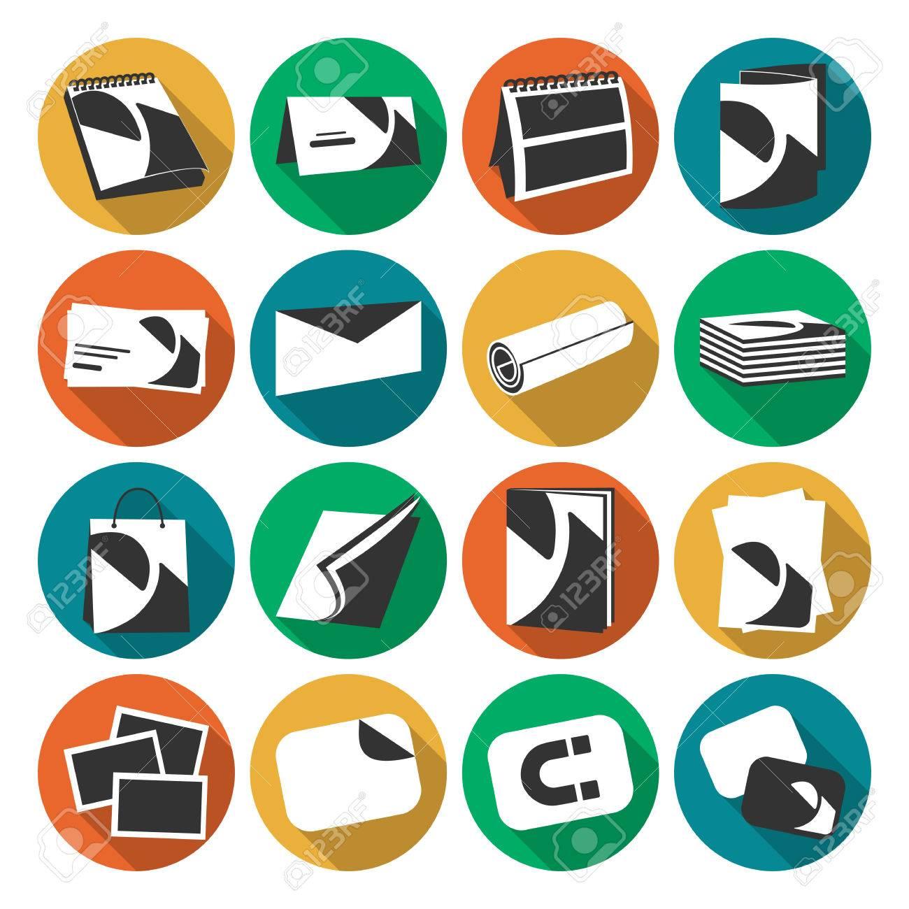 Impression Couleur Plat Maison Web Icones Dans Le Cercle Dombre