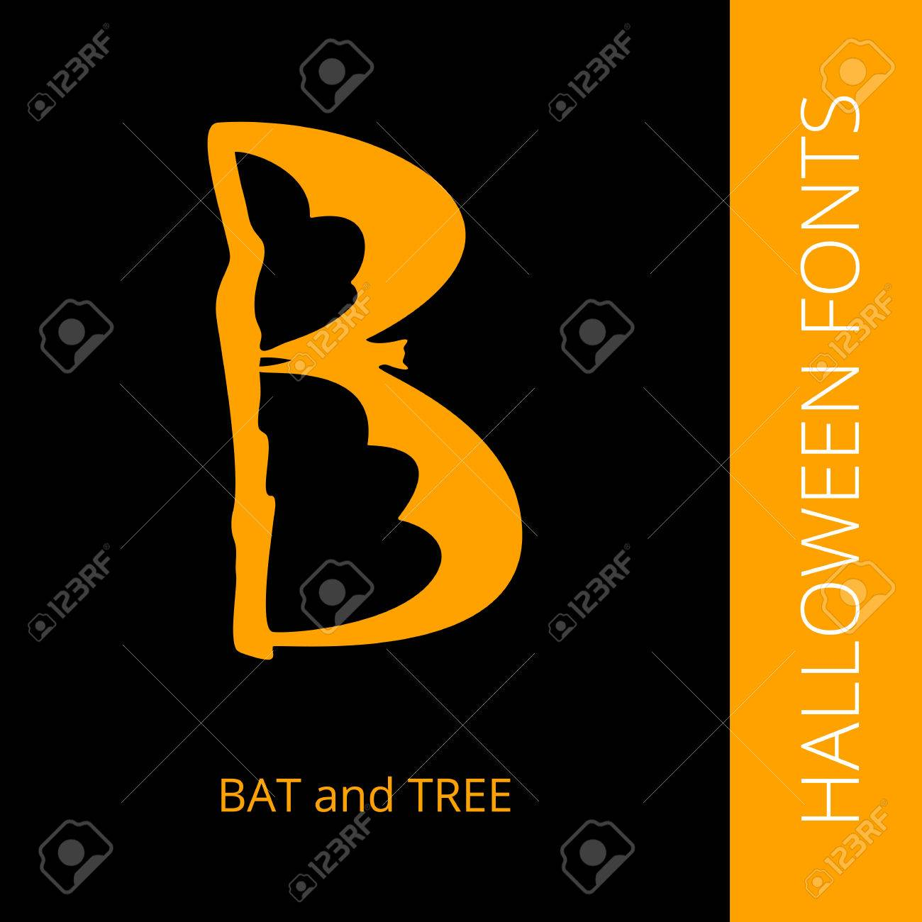 Halloween Design Vector Font Letter B Consist Of Bat And Tree