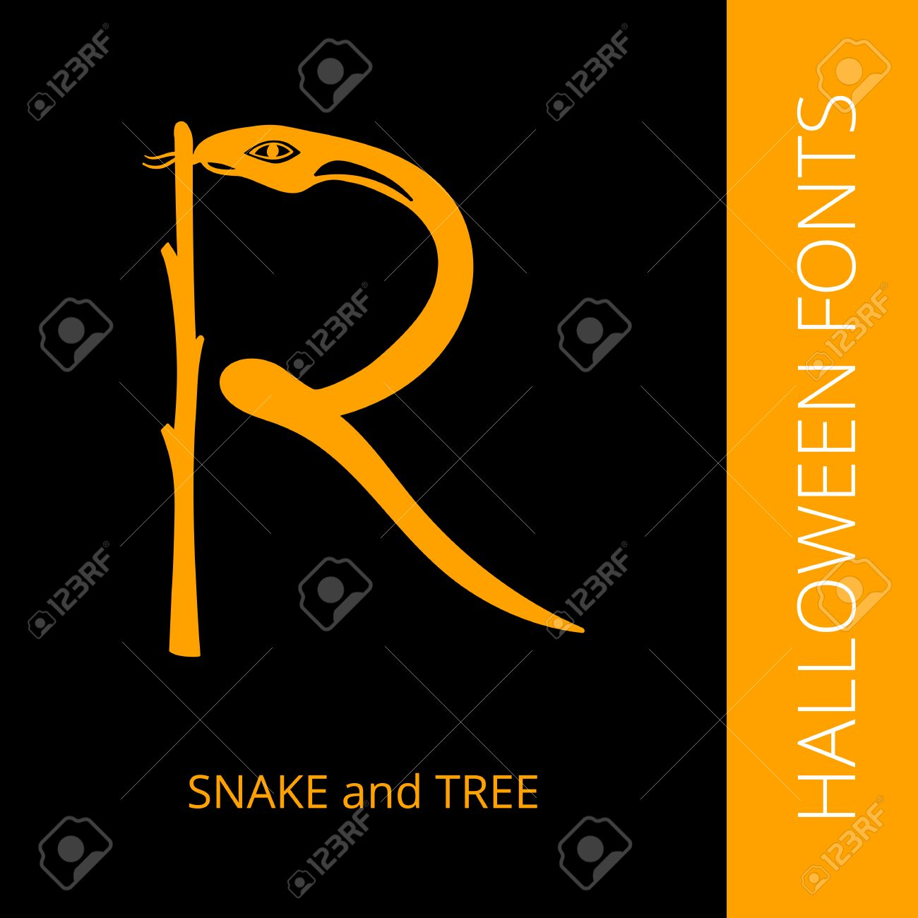 Halloween Design Vector Font Letter R Consist Of Snake And Tree
